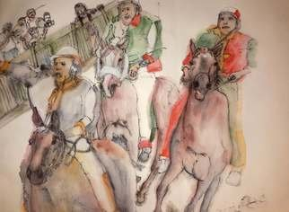 Debbi Chan: 'IL Palio contrada Lupa album ', 2016 Artistic Book, Equine. Artist Description:   These album leaves are part of a larger 70 continuous story painting in a folding album.   ...