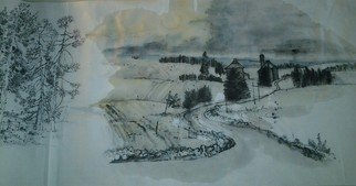 Artist: Debbi Chan - Title: Idaho in black and white - Medium: Watercolor - Year: 2012