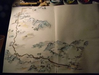 Debbi Chan: 'Idaho travel album map', 2012 Artistic Book, Maps. Artist Description:    this is almost the end of this beauty and it has been an interesting journey. the folding album contains a watercolor/ ink continuous painting on rice paper. i painted the Idaho landscape that is around where i live.  ...