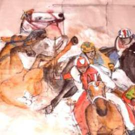 Debbi Chan Artwork Il Palio unrolled , 2016 Watercolor, Equine