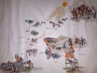 Debbi Chan: 'Last wars of Nez  Perce album', 2015 Artistic Book, Maps. Artist Description:  These album leaves are part of a larger 70'continuous story painting in a folding album.  ...
