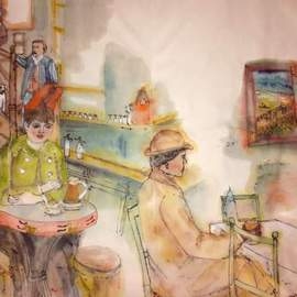 Debbi Chan Artwork Looking at Van Gogh my way album, 2016 Watercolor, Famous People