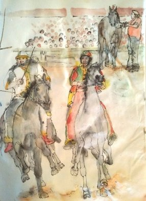 Debbi Chan: 'Siena and their Palio album ', 2016 Artistic Book, Equine. Artist Description:    Thee album leaves are part of a larger 70 continuous story painting in a folding album.    ...