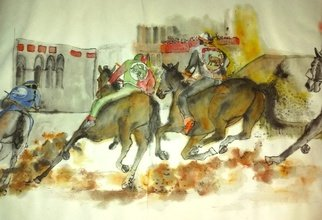 Debbi Chan: 'Siena and their Palio album ', 2016 Artistic Book, Equine. Artist Description:  These album leaves are part of a larger 70 continuous story painting in a folding album.  ...