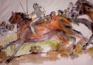 Debbi Chan: 'Siena il Palio album', 2016 Artistic Book, Equine. Artist Description:  Thee album leaves are part of a larger 70 continuous story painting in a folding album.  ...