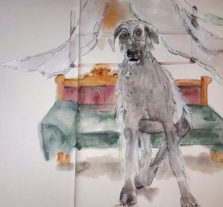 Debbi Chan: 'The wolfhounds are coming album', 2015 Artistic Book, Dogs. Artist Description:     These album leaves are part of a larger 70'continuous story painting in a folding album.     ...