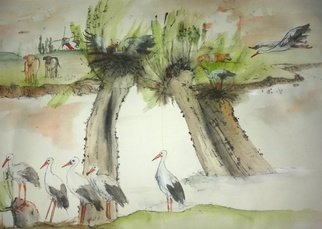 Debbi Chan: 'Tulips Clogs and Windmills album', 2016 Artistic Book, Landscape. Artist Description:     These album leaves are part of a larger 70continuous story painting in a folding album.     ...