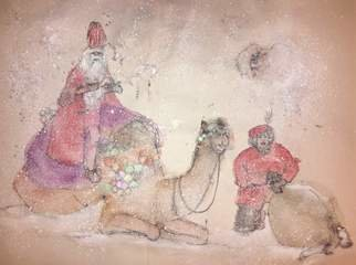Debbi Chan: 'a camel story album', 2015 Artistic Book, Holidays. Artist Description:   These album leaves are part of a larger 70'continuous story painting in a folding album.    ...