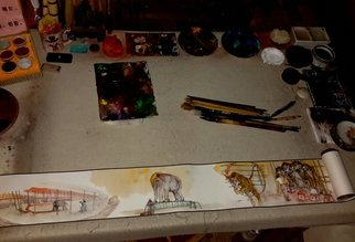 Debbi Chan: 'a circus story', 2015 Watercolor, Circus. Artist Description:  photo of my newest scroll. ...