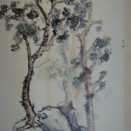 Debbi Chan: 'a pair of tree', 2009 Ink Painting, Trees. Artist Description:  this is a free style( yie sie) painting done on rice paper with chinese ink stick and watercolor ...
