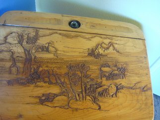 Debbi Chan: 'antique student desk with carved top', 2008 Furniture, Landscape. Artist Description:  this is a lovely antique student' s desk in quite good condition.  i bought it and then carved a deep relief on top. then it was varnished. ...