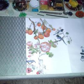 Debbi Chan Artwork art table with painting in progress, 2013 Color Photograph, Still Life