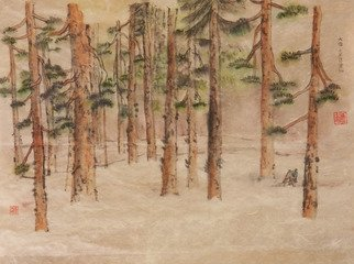 Debbi Chan: 'artist being alone', 2012 Watercolor, Motivational. Artist Description:    watercolor/ ink. rice paper. an artist alone. with himself. his thoughts. or in the world.  lots of feeling in this one. and, cold.                                 ...