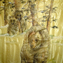 Debbi Chan Artwork bear love jealousy in spring, 2010 Watercolor, Animals