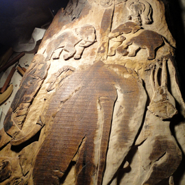 Debbi Chan: 'born on the fourth of july update', 2011 Wood Sculpture, Animals. Artist Description:  still working and perfecting this large relief. it is carved on a slab of black walnut.  truly a nice relief especially for collectors of elephant art.                                                                                                                                                                                                      ...