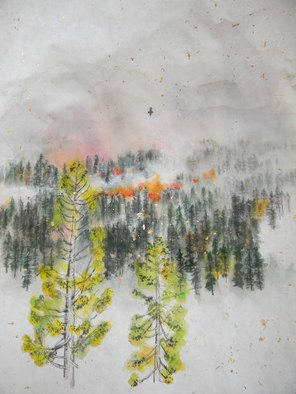 Debbi Chan Artwork burn off day, 2012 Color Photograph, Trees