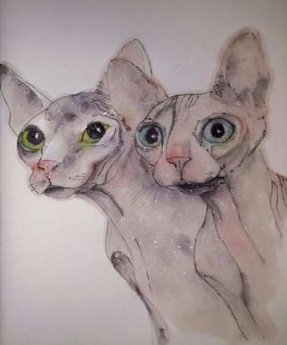 Debbi Chan: 'cats cats cats album', 2015 Artistic Book, Cats. Artist Description:  These album leaves are part of a larger 70'continuous story painting in a folding album.  ...