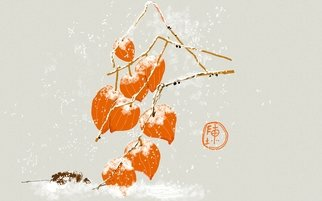 Debbi Chan: 'chinese lantern in snow', 2017 Digital Art, Botanical. Artist Description: This digital painting was done using a Samsung S note APP. ...