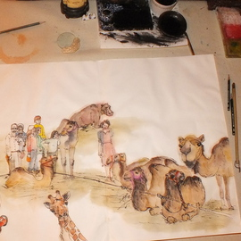 circus painting on the table