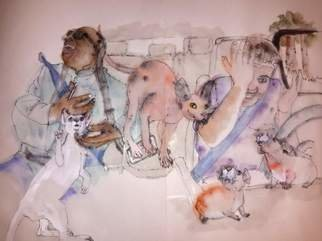 Debbi Chan: 'comedians and cats album', 2015 Artistic Book, Cats. Artist Description:     These album leaves are part of a larger 70'continuous story painting in a folding album.     ...