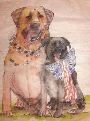 Debbi Chan: 'friends celebrating  the fourth of July ', 2016 Watercolor, Dogs. Artist Description:    This painting  was done in a traditional Chinese style on specialty rice paper.          ...