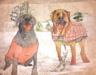 Debbi Chan: 'friends together weather winter  weather ', 2016 Watercolor, Dogs. Artist Description:  This watercolor done in a traditional Chinese style on specialty rice paper.        ...