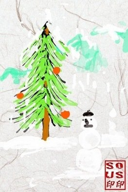 Debbi Chan: 'happy holidays', 2011 Digital Art, Holidays. Artist Description:     done by hand on my iPad App. .  then can be printed to size needed.       ...