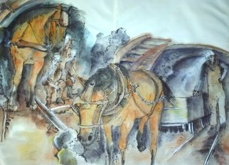 Debbi Chan: 'here come the equines album ', 2016 Artistic Book, Equine. Artist Description:  These album leaves are part of a larger 70 continuous story painting in a folding album.  ...