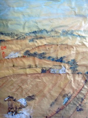 Artist: Debbi Chan - Title: idaho wheat field - Medium: Watercolor - Year: 2009
