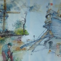, Van Gogh In Chinese Style, Cityscape, $5,250