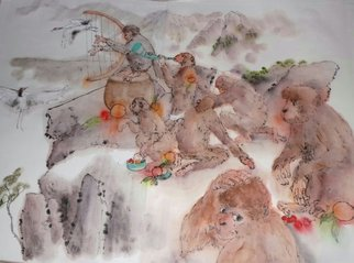 Debbi Chan: 'journey to the West album', 2013 Artistic Book, Buddhism. Artist Description:   a 70 plus ft. story painting in a folding album illustrating the famous Chinese novel from Ming Dynssty.       these album leaves are in watercolor/ ink on rice paper.                                                                                                                       ...