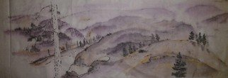 Debbi Chan Artwork landscape shrouded in purple, 2012 Watercolor, Mountains
