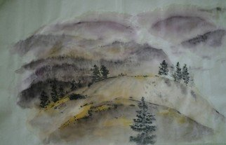Debbi Chan Artwork landscape with purple haze, 2012 Watercolor, Mountains