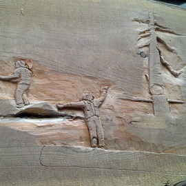 Debbi Chan: 'logging history in wood relief', 2012 Stone Sculpture, Americana. Artist Description:     a relief  carving in wood showing  the logging history in the Pacific NW.   ...