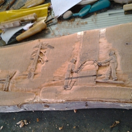 Debbi Chan: 'logging history in wood relief', 2012 Wood Sculpture, Americana. Artist Description:      a relief  carving in wood showing  the logging history in the Pacific NW.    ...