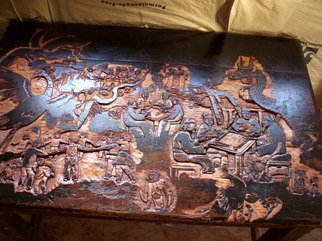 Debbi Chan: 'mahjhong in the park  update', 2010 Furniture, Culture. Artist Description:    getting very close to completing this carved table.                                                                                                                          ...