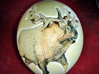 Debbi Chan: 'moose and elk  egg', 2010 Other, Animals. Artist Description:  i decided to go ahead and paint the egg i carved the other day.  so, here it is as a painted egg. . . . ...