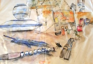 Debbi Chan: 'my world album', 2017 Watercolor, Home. Artist Description: Still life. Alexa. Btushes...