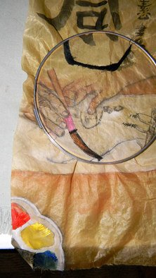Debbi Chan: 'painting with heart embroidered', 2010 Fiber, Communication. Artist Description:  an update on what is turning out to be an interesting piece.            ...