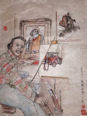 Debbi Chan: 'portrait  of my uncle', 2015 Watercolor, Family. Artist Description:  a watercolor on rice paper in traditional Chinese style.  ...