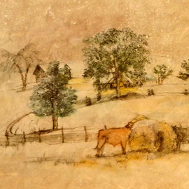 Debbi Chan Artwork quiet but for sound of cattle chewing, 2011 Watercolor, Landscape