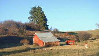 Color Photograph by Debbi Chan titled: red barn casts evening shadow, created in 2010