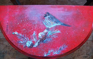Debbi Chan: 'red poll sits decorating table top', 2012 Furniture, Birds. Artist Description:  i used oils to paint the little bird on this end table.                                                                                                                                                                                                                                                                                                                                                                                                                                                                                                                                                                                                                                                                                               ...