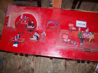 Debbi Chan: 'story in red update', 2010 Furniture, Culture. Artist Description:  making progress on this red table, , it will soon be finished and up for sale. . .                                                                                                                                          ...