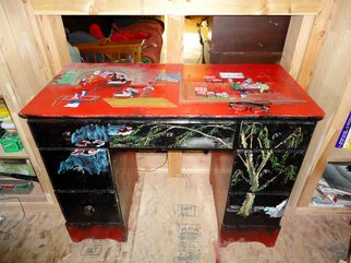 Debbi Chan: 'story in red update', 2010 Furniture, Figurative. Artist Description:  and this table is nearing completion. perhaps even today. a real showstopper it will afford hours of fun reading the story plots. i have provided you with visual content. you add the stories.                                   ...