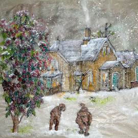Debbi Chan Artwork surprise  snowstorm in spring, 2011 Watercolor, Home