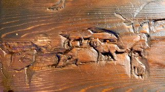 Debbi Chan: 'they cry ', 2011 Furniture, Animals. Artist Description:     i am carving this cedar wood bench in a deep relief tecnique.  it is NOT finished but it will be for sale when completed.    ...