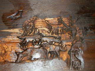 Debbi Chan: 'they cry update', 2011 Furniture, Animals. Artist Description:  i have not actually built this bench but rather i am carving the animal scene in a deep relief style. very impressive and not yet finished.       ...