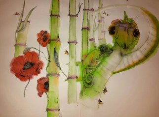 Debbi Chan: 'walking through  garden  of plenty album', 2015 Artistic Book, Buddhism. Artist Description:   These album leaves are part of a larger 70'continuous story painting in a folding album.  > ...