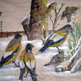 Debbi Chan Artwork yellow birds arrive early, 2010 Watercolor, Birds
